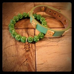 Rustic Cuff Lime Green Pair